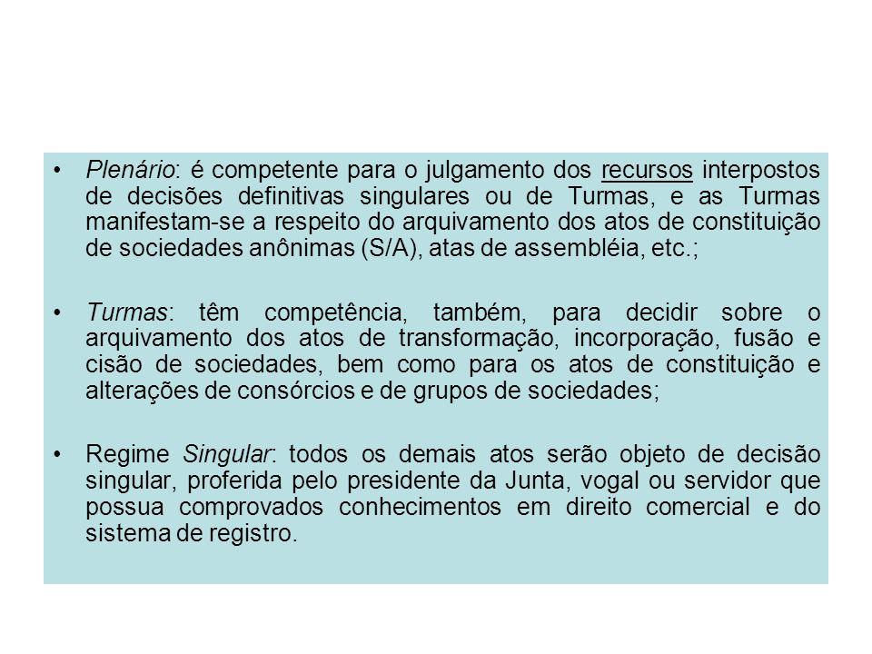 Plenário: é competente para o julgamento dos recursos interpostos de decisões definitivas singulares ou de Turmas, e as Turmas manifestam-se a respeito do arquivamento dos atos de constituição de sociedades anônimas (S/A), atas de assembléia, etc.;