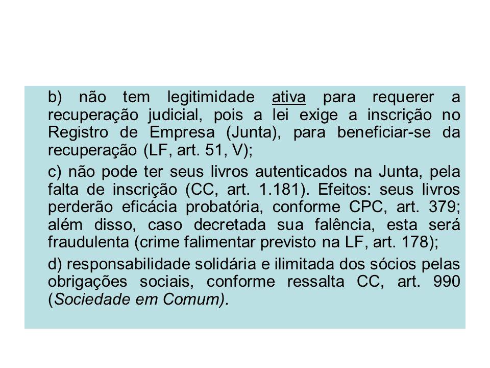 b) não tem legitimidade ativa para requerer a recuperação judicial, pois a lei exige a inscrição no Registro de Empresa (Junta), para beneficiar-se da recuperação (LF, art. 51, V);