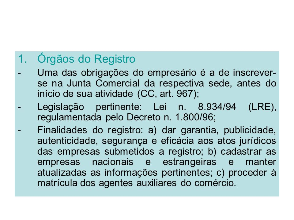 Órgãos do Registro