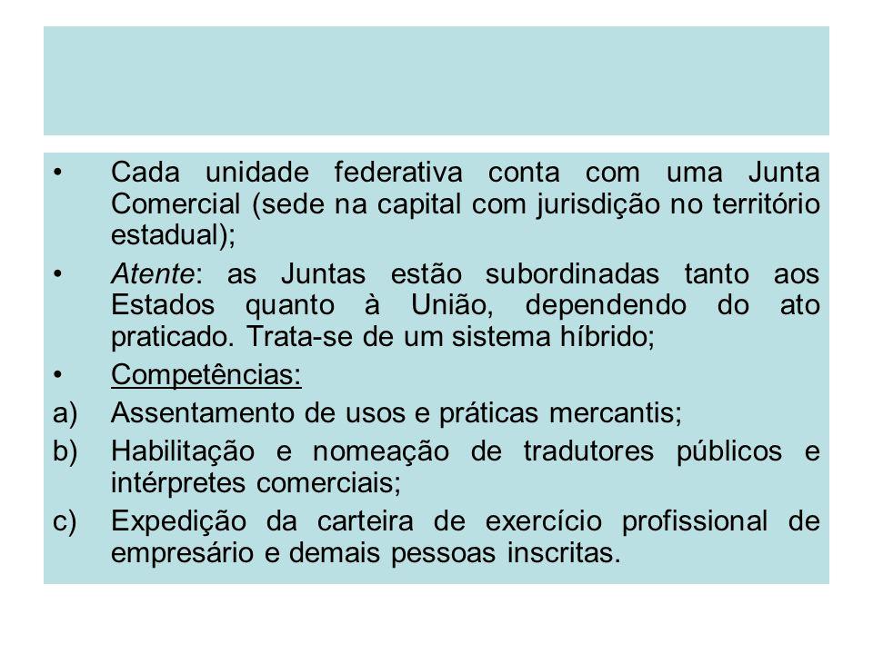Cada unidade federativa conta com uma Junta Comercial (sede na capital com jurisdição no território estadual);