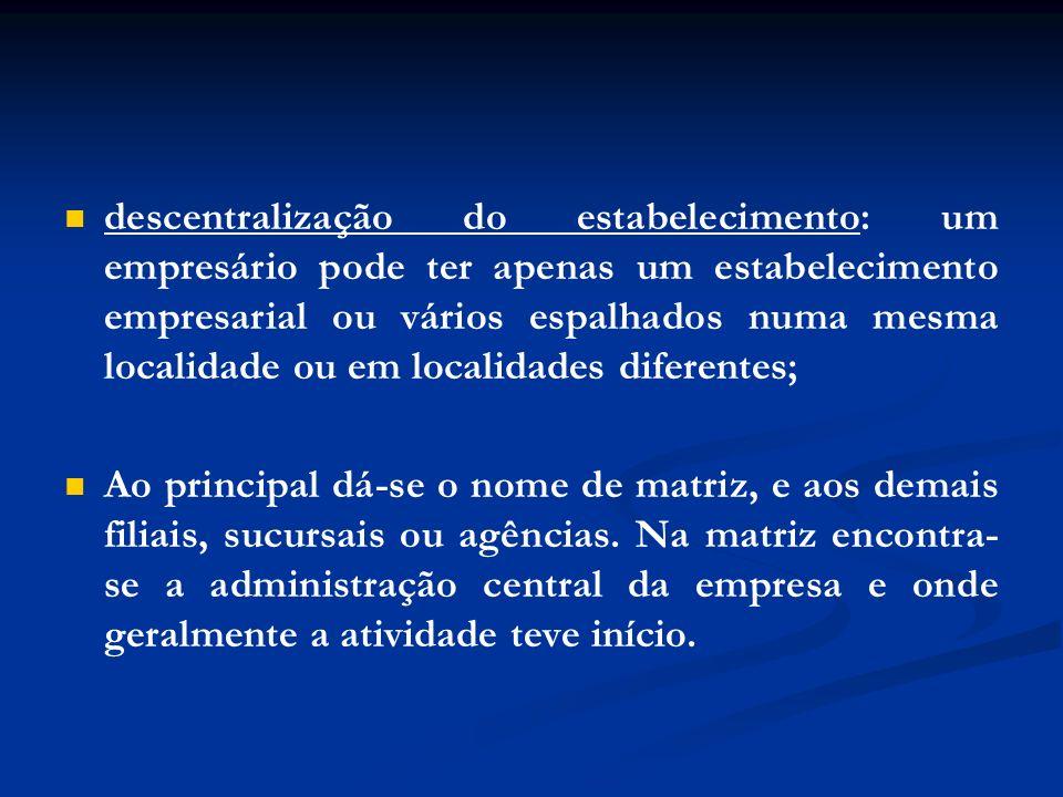 descentralização do estabelecimento: um empresário pode ter apenas um estabelecimento empresarial ou vários espalhados numa mesma localidade ou em localidades diferentes;