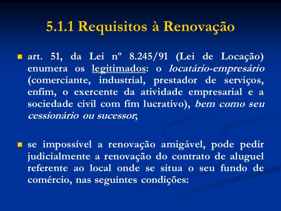 5.1.1 Requisitos à Renovação