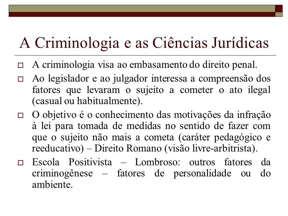A Criminologia e as Ciências Jurídicas
