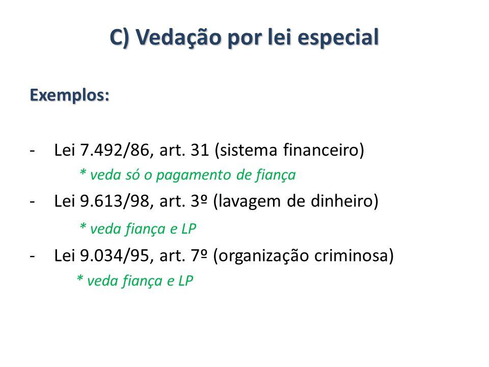 C) Vedação por lei especial