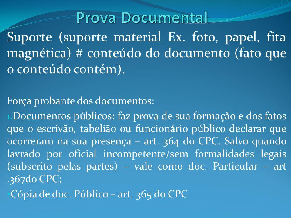 Prova Documental Suporte (suporte material Ex. foto, papel, fita magnética) # conteúdo do documento (fato que o conteúdo contém).