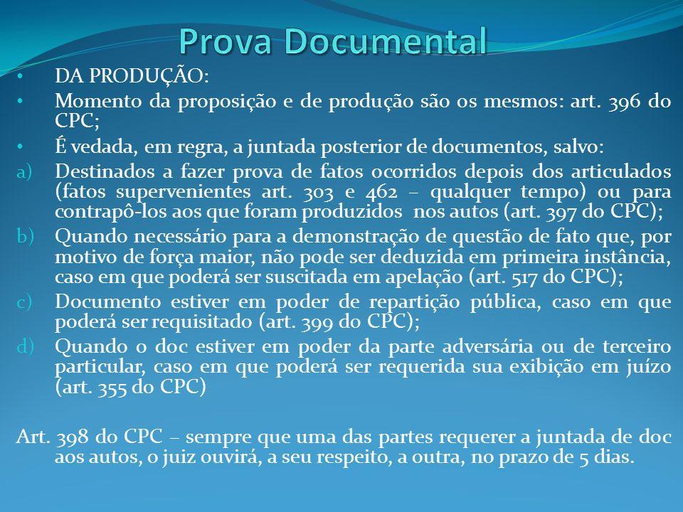 Prova Documental DA PRODUÇÃO:
