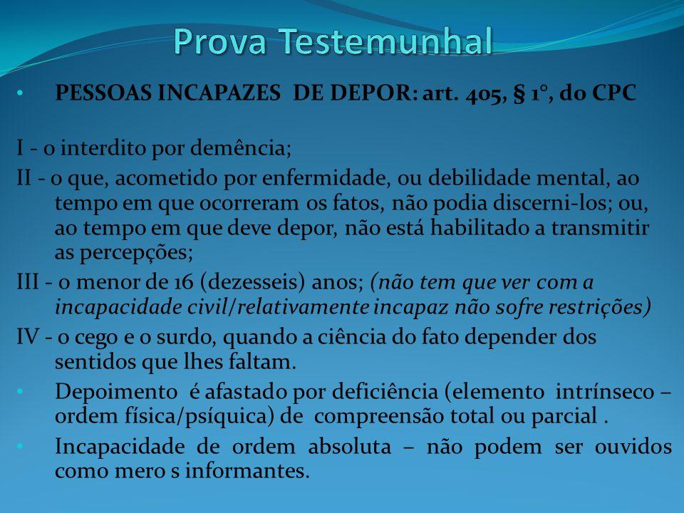 Prova Testemunhal PESSOAS INCAPAZES DE DEPOR: art. 405, § 1°, do CPC