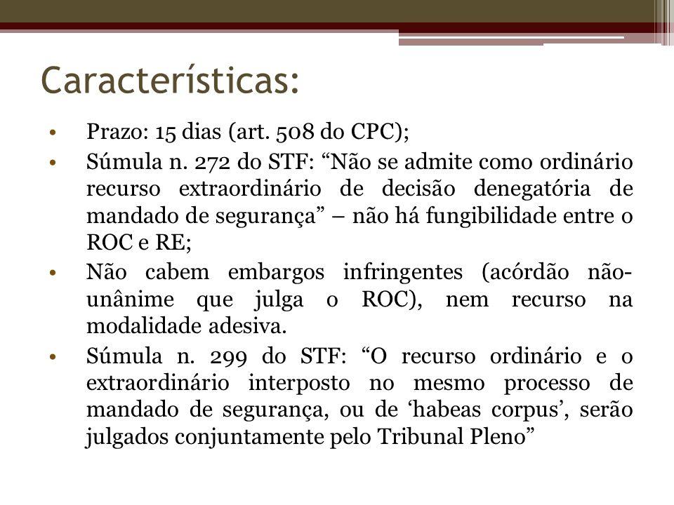 Características: Prazo: 15 dias (art. 508 do CPC);