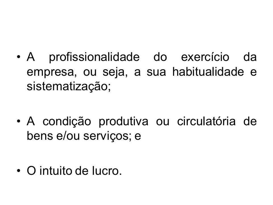 A profissionalidade do exercício da empresa, ou seja, a sua habitualidade e sistematização;