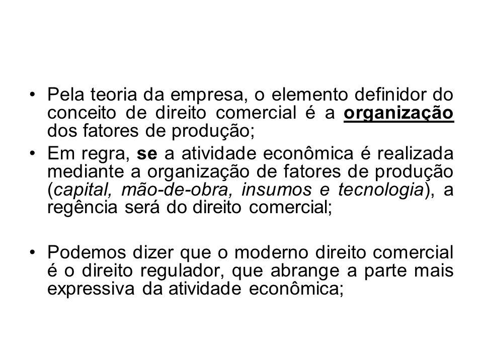 Pela teoria da empresa, o elemento definidor do conceito de direito comercial é a organização dos fatores de produção;