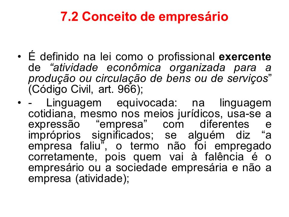 7.2 Conceito de empresário