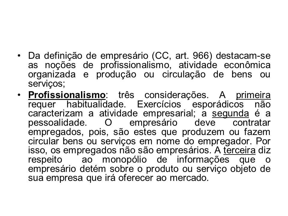 Da definição de empresário (CC, art