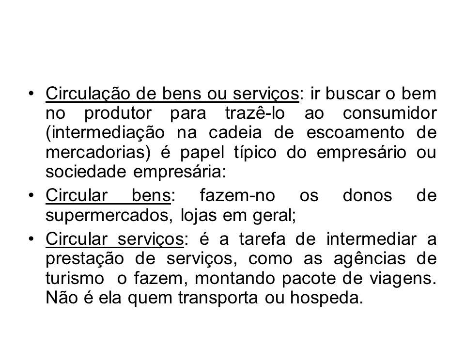 Circulação de bens ou serviços: ir buscar o bem no produtor para trazê-lo ao consumidor (intermediação na cadeia de escoamento de mercadorias) é papel típico do empresário ou sociedade empresária: