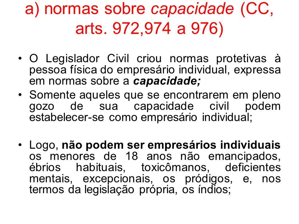 a) normas sobre capacidade (CC, arts. 972,974 a 976)