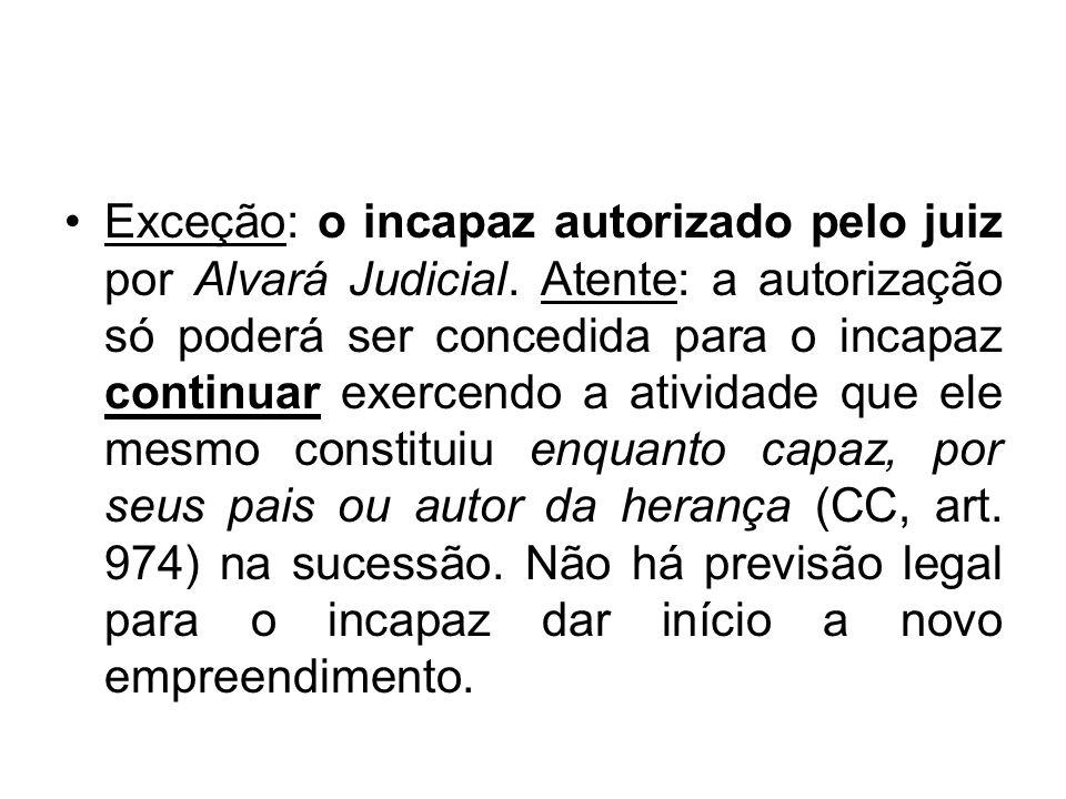 Exceção: o incapaz autorizado pelo juiz por Alvará Judicial