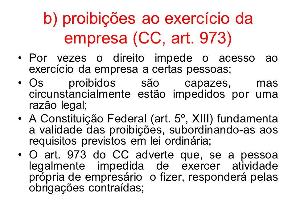 b) proibições ao exercício da empresa (CC, art. 973)