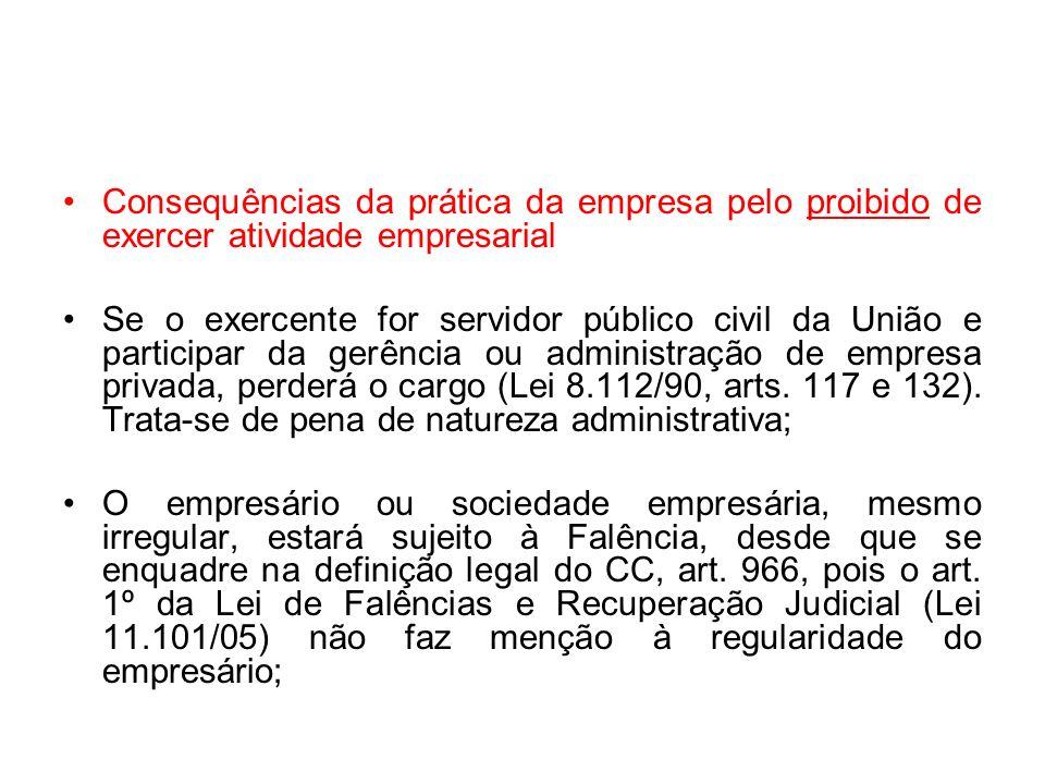 Consequências da prática da empresa pelo proibido de exercer atividade empresarial