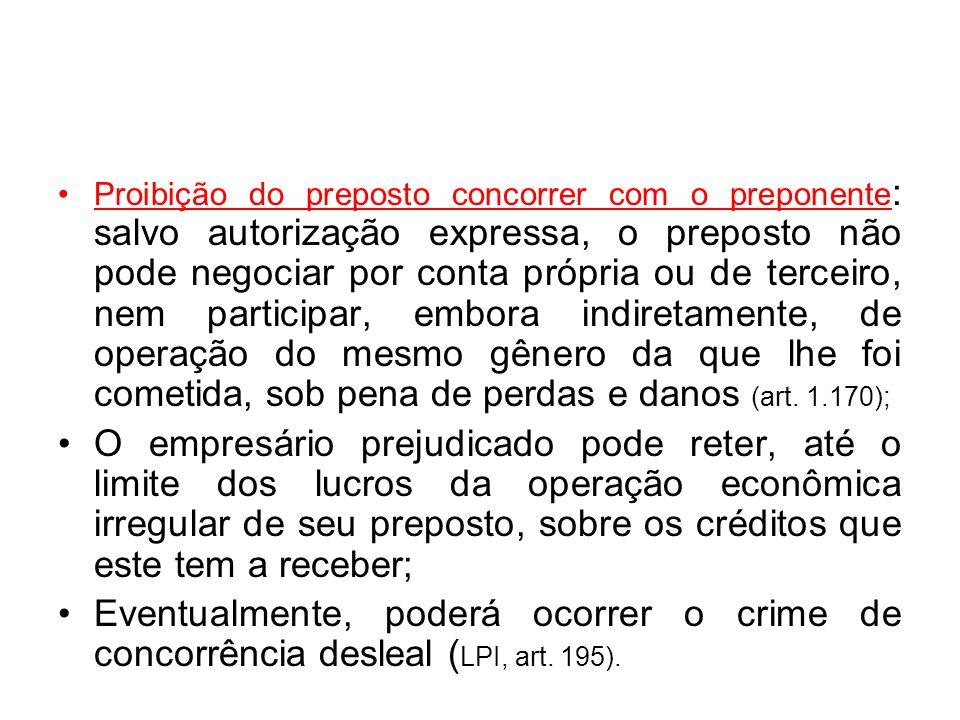 Proibição do preposto concorrer com o preponente: salvo autorização expressa, o preposto não pode negociar por conta própria ou de terceiro, nem participar, embora indiretamente, de operação do mesmo gênero da que lhe foi cometida, sob pena de perdas e danos (art. 1.170);