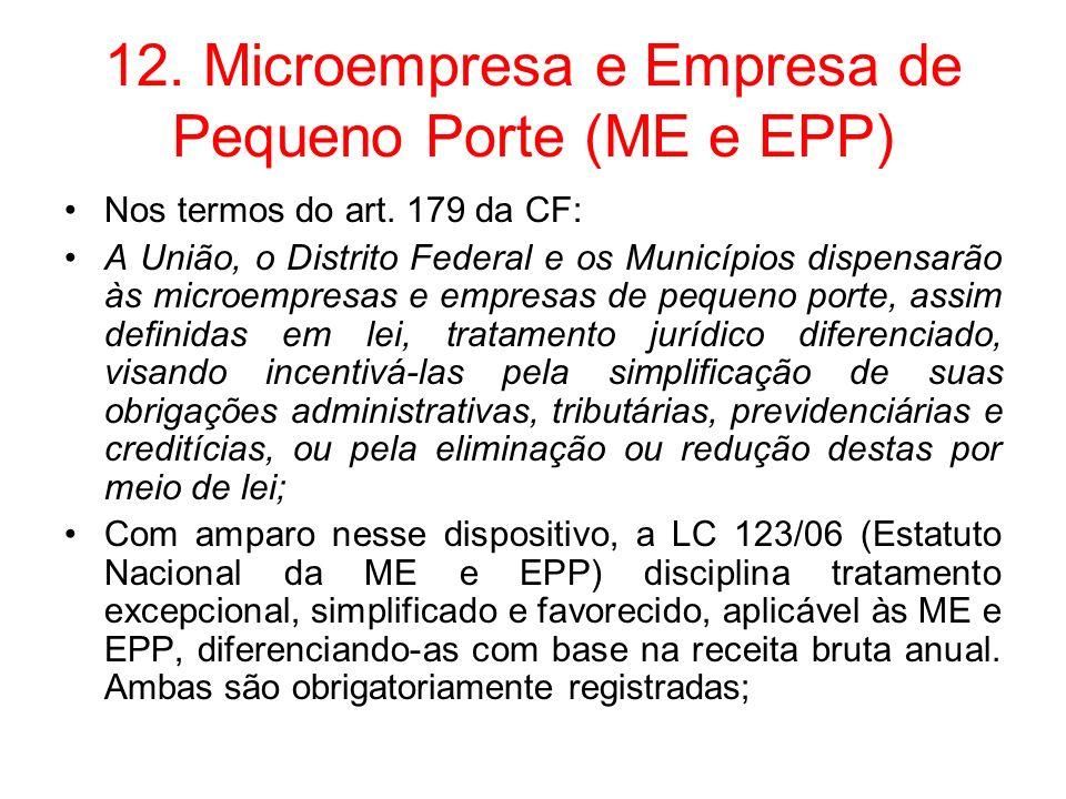 12. Microempresa e Empresa de Pequeno Porte (ME e EPP)