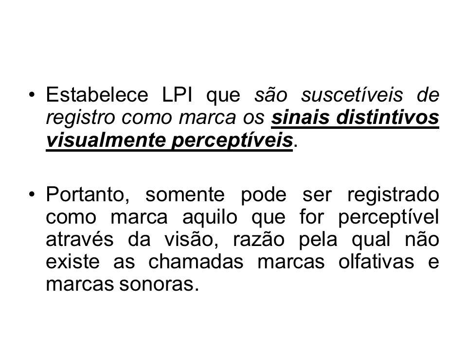 Estabelece LPI que são suscetíveis de registro como marca os sinais distintivos visualmente perceptíveis.