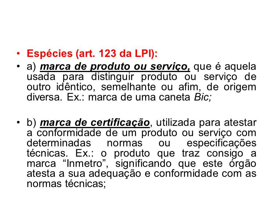 Espécies (art. 123 da LPI):