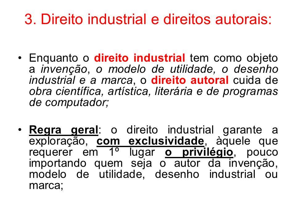 3. Direito industrial e direitos autorais: