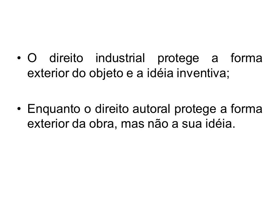 O direito industrial protege a forma exterior do objeto e a idéia inventiva;