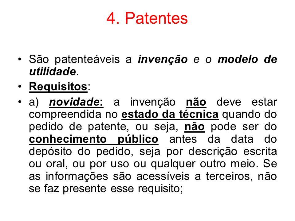 4. Patentes São patenteáveis a invenção e o modelo de utilidade.
