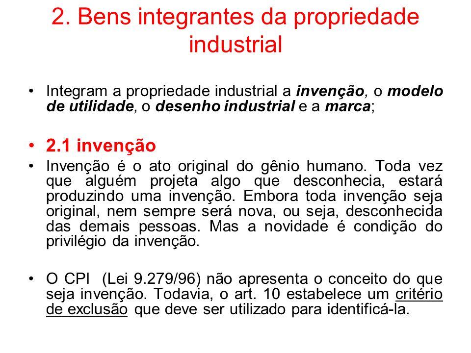 2. Bens integrantes da propriedade industrial