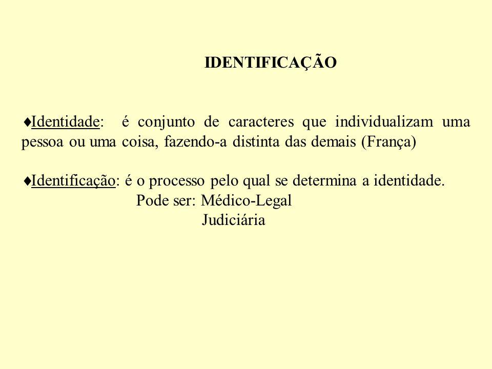 IDENTIFICAÇÃO Identidade: é conjunto de caracteres que individualizam uma pessoa ou uma coisa, fazendo-a distinta das demais (França)