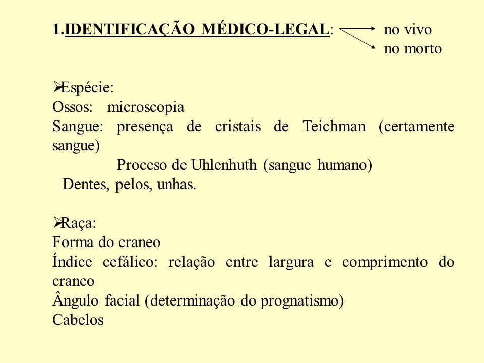1.IDENTIFICAÇÃO MÉDICO-LEGAL: no vivo