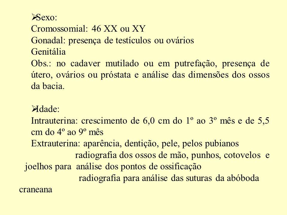 Sexo: Cromossomial: 46 XX ou XY. Gonadal: presença de testículos ou ovários. Genitália.