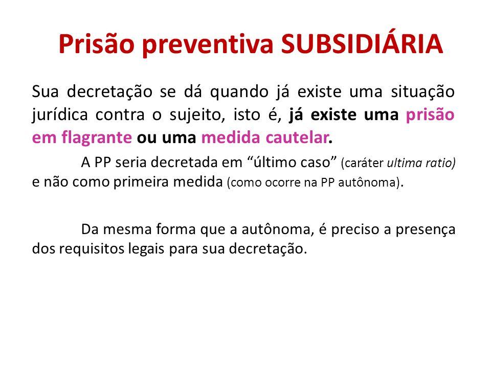 Prisão preventiva SUBSIDIÁRIA