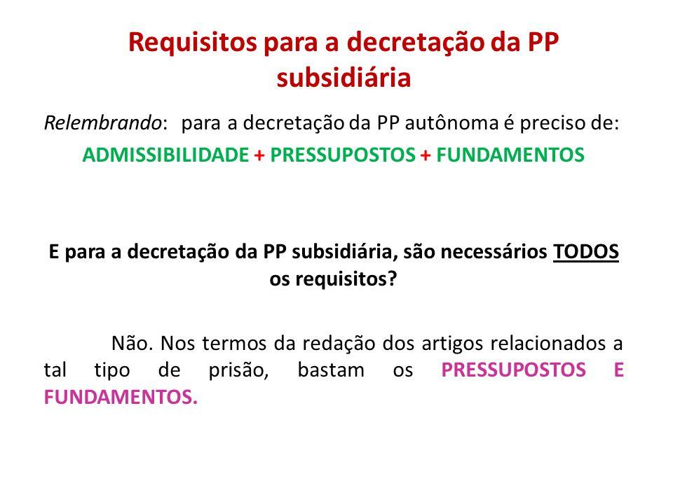 Requisitos para a decretação da PP subsidiária