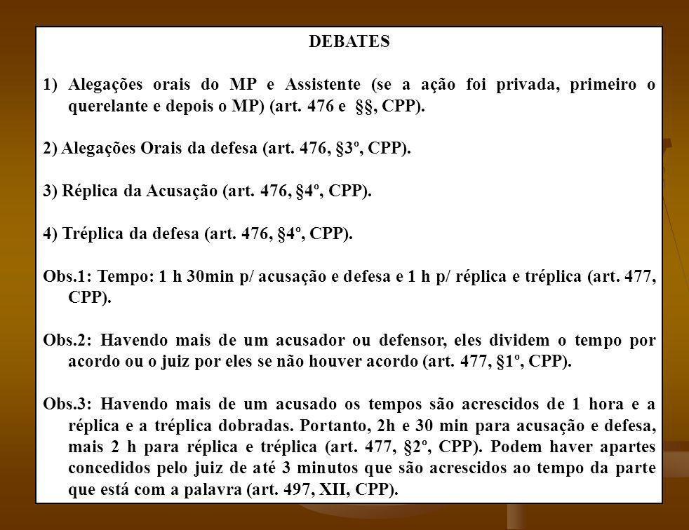 DEBATES Alegações orais do MP e Assistente (se a ação foi privada, primeiro o querelante e depois o MP) (art. 476 e §§, CPP).