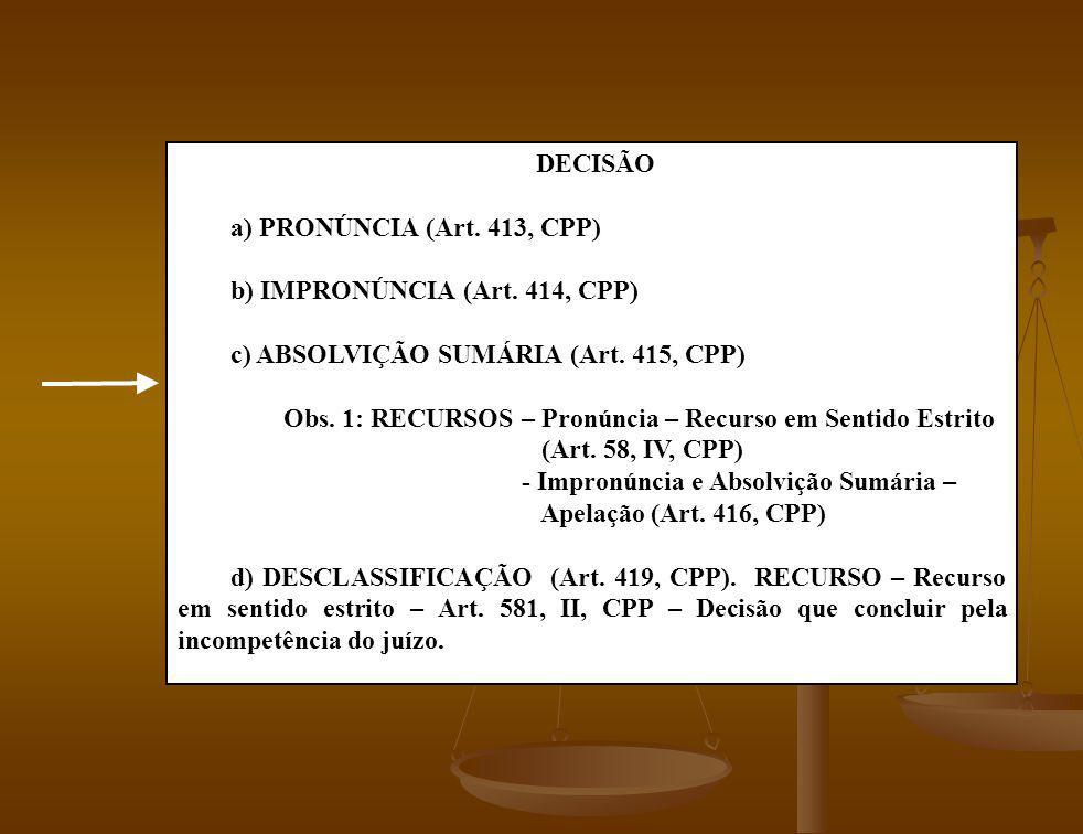 DECISÃO a) PRONÚNCIA (Art. 413, CPP) b) IMPRONÚNCIA (Art. 414, CPP) c) ABSOLVIÇÃO SUMÁRIA (Art. 415, CPP)