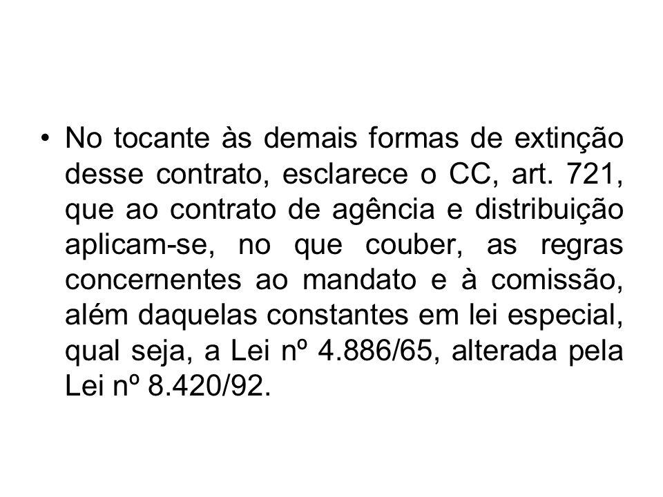 No tocante às demais formas de extinção desse contrato, esclarece o CC, art.
