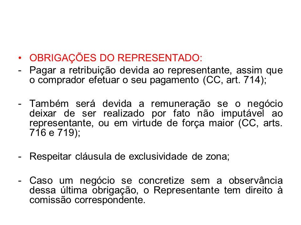 OBRIGAÇÕES DO REPRESENTADO: