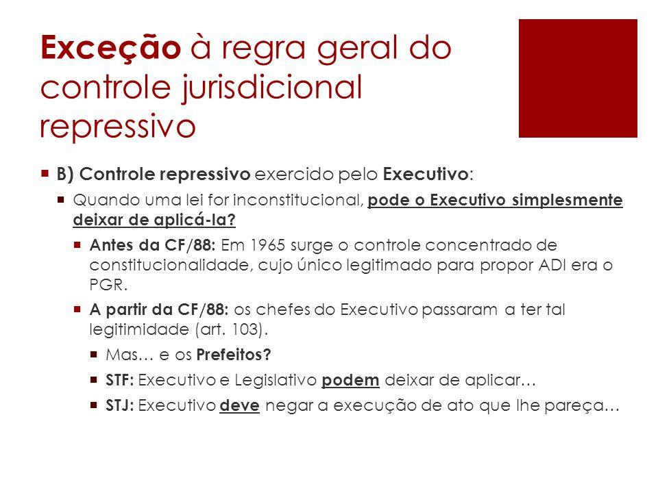 Exceção à regra geral do controle jurisdicional repressivo