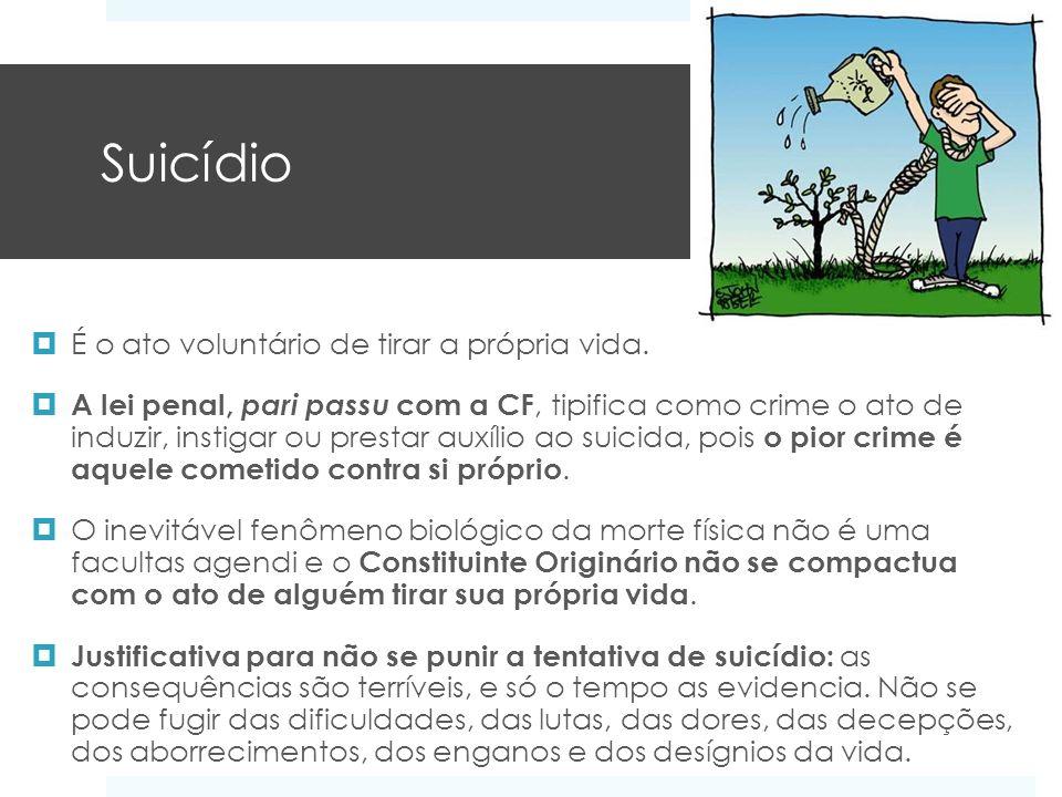 Suicídio É o ato voluntário de tirar a própria vida.