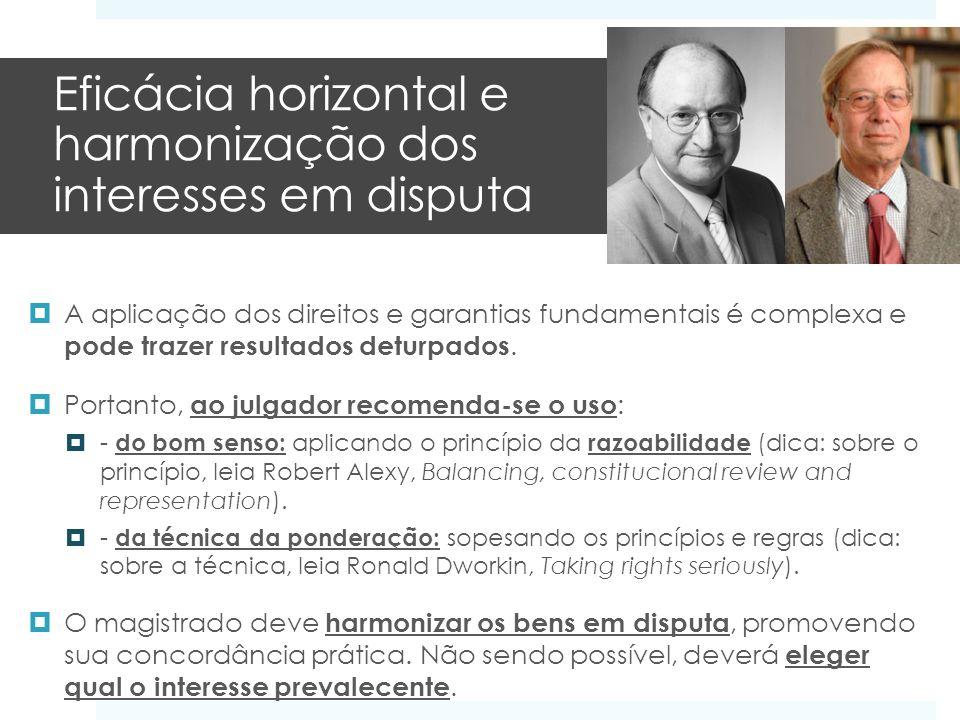 Eficácia horizontal e harmonização dos interesses em disputa