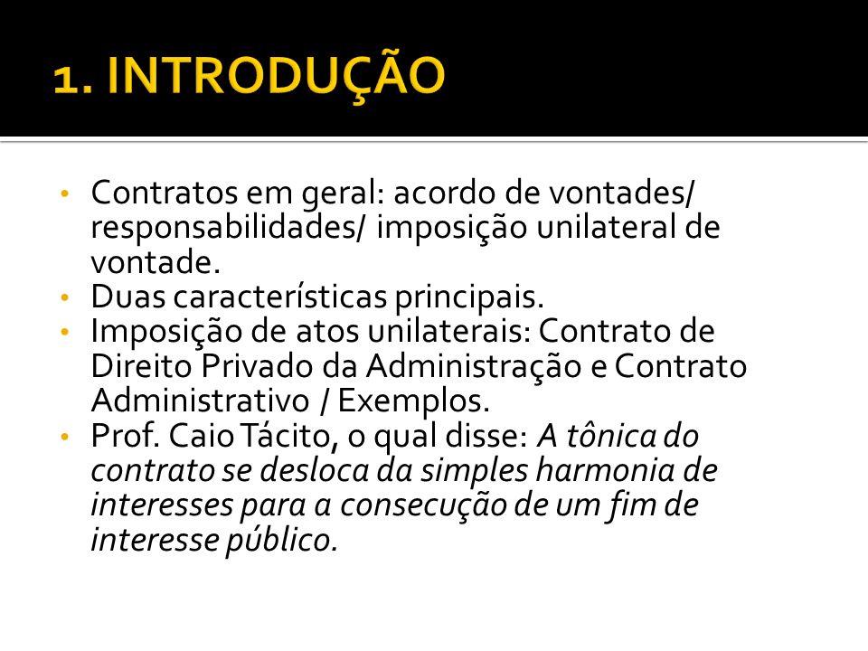 1. INTRODUÇÃO Contratos em geral: acordo de vontades/ responsabilidades/ imposição unilateral de vontade.