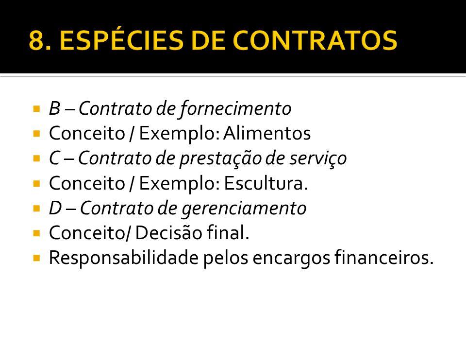 8. ESPÉCIES DE CONTRATOS B – Contrato de fornecimento