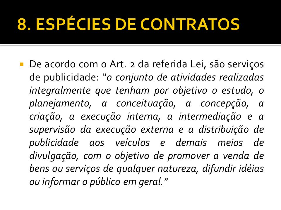 8. ESPÉCIES DE CONTRATOS