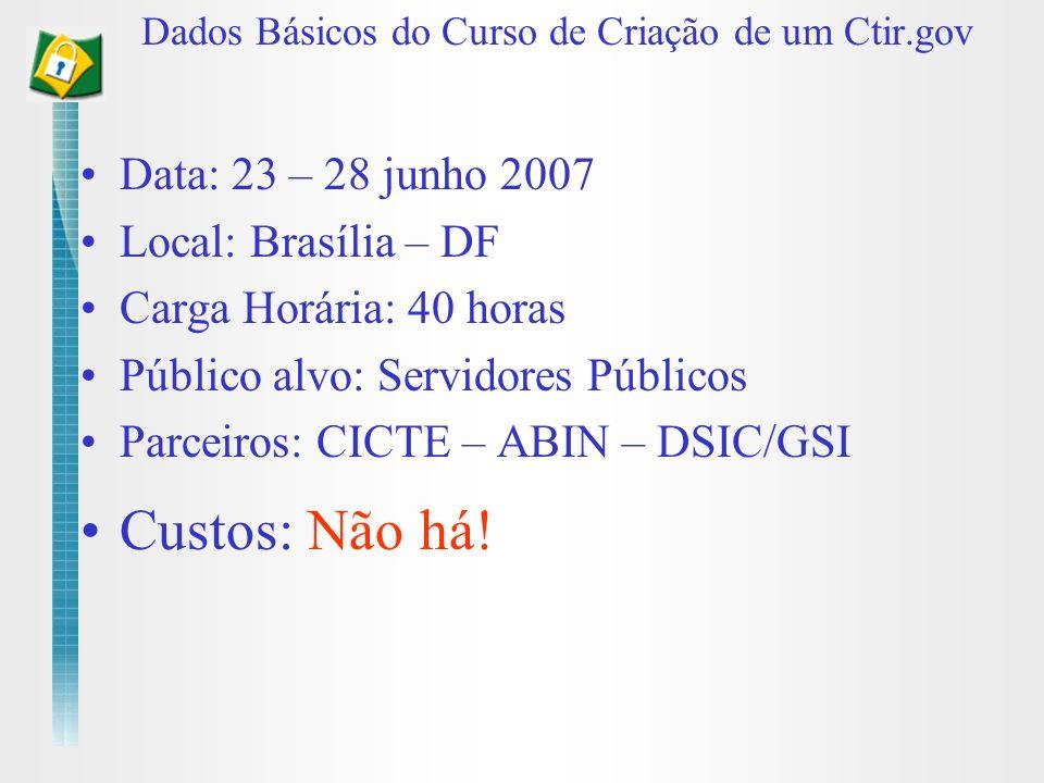 Dados Básicos do Curso de Criação de um Ctir.gov