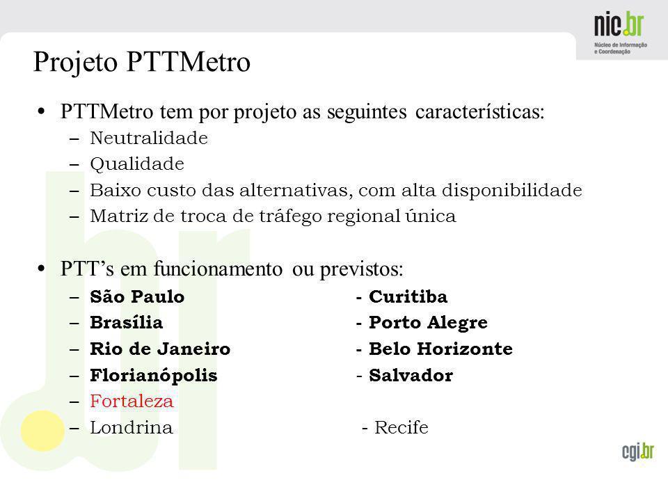 Projeto PTTMetro PTTMetro tem por projeto as seguintes características: Neutralidade. Qualidade.