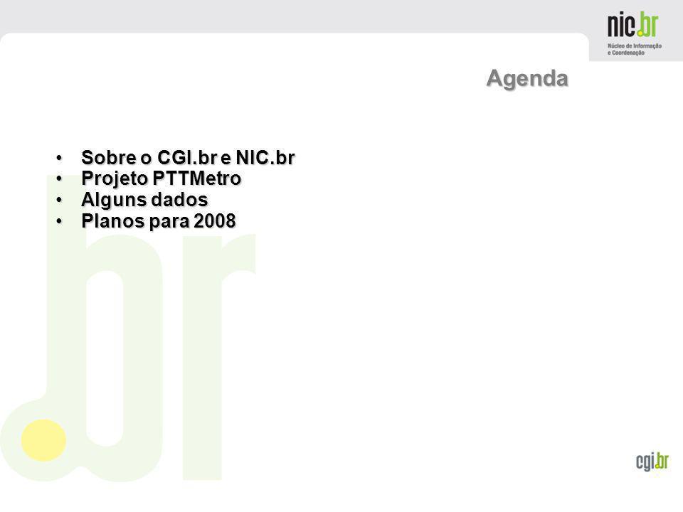 Agenda Sobre o CGI.br e NIC.br Projeto PTTMetro Alguns dados