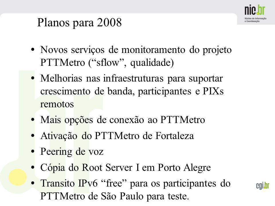 Planos para 2008 Novos serviços de monitoramento do projeto PTTMetro ( sflow , qualidade)