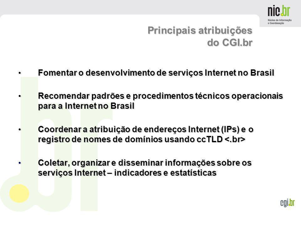 Principais atribuições do CGI.br