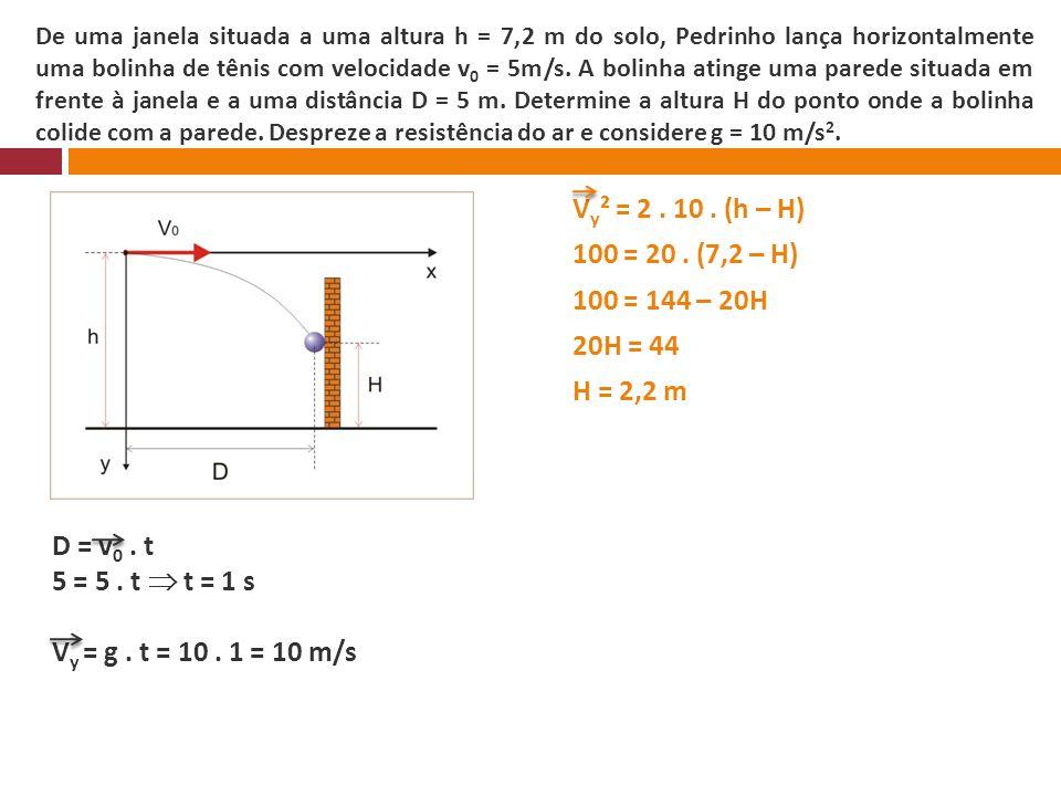 De uma janela situada a uma altura h = 7,2 m do solo, Pedrinho lança horizontalmente uma bolinha de tênis com velocidade v0 = 5m/s. A bolinha atinge uma parede situada em frente à janela e a uma distância D = 5 m. Determine a altura H do ponto onde a bolinha colide com a parede. Despreze a resistência do ar e considere g = 10 m/s2.